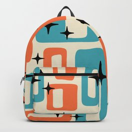 Retro Mid Century Modern Abstract Pattern 221 Orange and Blue Backpack