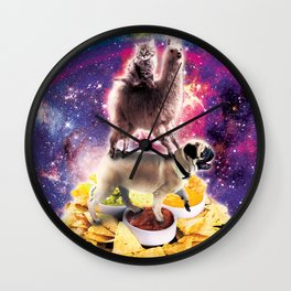 Space Cat Llama Pug Riding Nachos Wall Clock