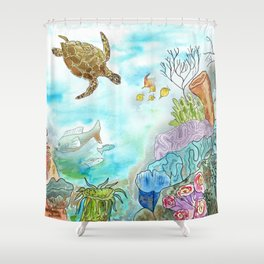 Turtle Reef Shower Curtain