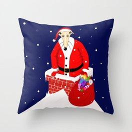 Christmas Whippet with snow Throw Pillow
