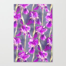 Simple Iris Pattern in Warm Magenta Canvas Print