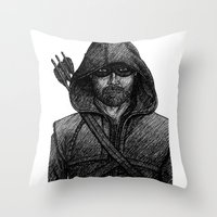 green arrow Throw Pillows featuring Arrow by Jack Kershaw