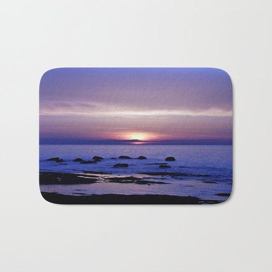 Blue and Purple Sunset on the Sea Bath Mat