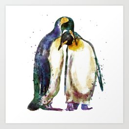 Penguin couple Art Print