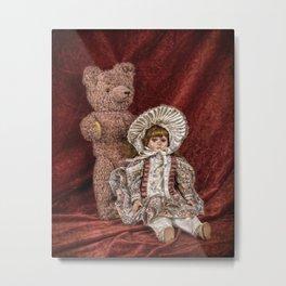 Memories of Childhood Teddy Bear and Doll Metal Print