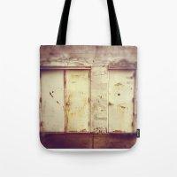 doors Tote Bags featuring doors by sandra lee russell
