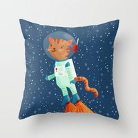 space cat Throw Pillows featuring Space Cat by Stephanie Fizer Coleman