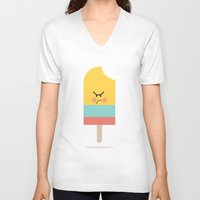 icecream V-neck T-shirts featuring Moody Icecream by Marie O'Neill