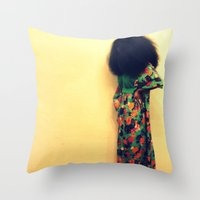 afro Throw Pillows featuring Afro by 2sweet4words Designs