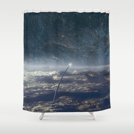 Space exploration earth and night sky Shower Curtain