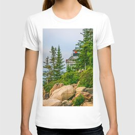 Bass Harbor Lighthouse Through the Forest Print T-shirt