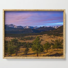 Rocky Mountain High - Moonlight Drenches Colorado Landscape Serving Tray