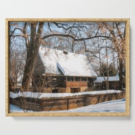 Old Romanian Cottage covered in snow Serving Tray