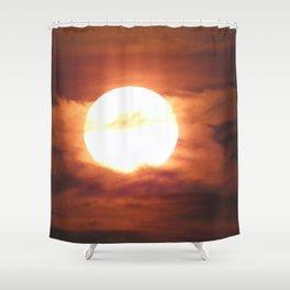 Moon Art, Moon and Clouds, Firey Moon Shower Curtain