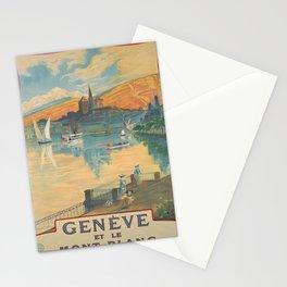 poster Geneve et le Mont Blanc voyage poster Stationery Cards