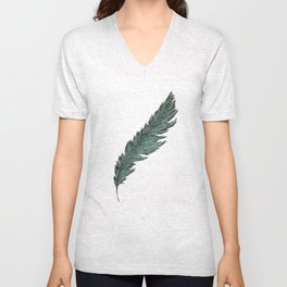 CRAYON LOVE: Aqua Feather Unisex V-Neck