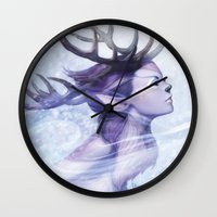 artgerm Wall Clocks featuring Deer Princess by Artgerm™