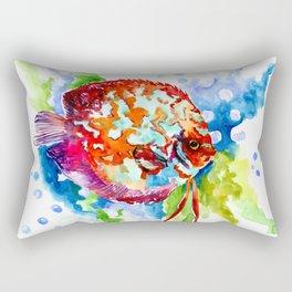 Bright Colored Aquarium Fish, Aquatic Beach Design Discus Rectangular Pillow