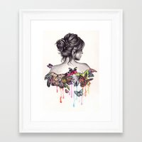 woman Framed Art Prints featuring Butterfly Effect by KatePowellArt