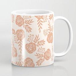 Warm Orange Floral Pattern Coffee Mug
