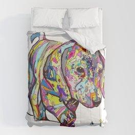 Rainbow Dappled Dachshund Painting Comforters