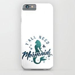 Mermaids - aqua and green glitter design iPhone Case