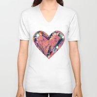 west coast V-neck T-shirts featuring West Coast Heart by Angela Pesic