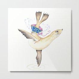 Sea Lion dancing Polka Dot Tutu Skirt Watercolor Metal Print