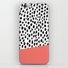 Dalmatian Spots with Coral Stripe (Pantone Living Coral) iPhone Skin