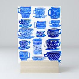 Coffee Mugs and Tea Cups - A study in blues Mini Art Print