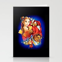 beauty and the beast Stationery Cards featuring Beauty And The Beast by neutrone
