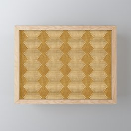 mudcloth diamonds - mustard Framed Mini Art Print