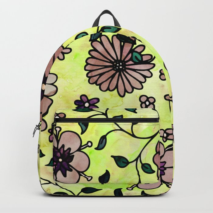 Brown Small Flowers Backpack