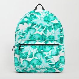Monstera Watercolor Toss in Teal Backpack