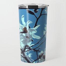 White Magnolia Bloom Blue Sky Travel Mug