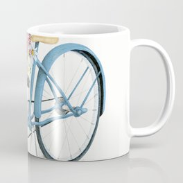 Blue Bicycle with Flowers in Basket Kaffeebecher