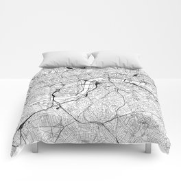 London White Map Comforters