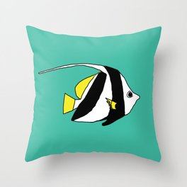 Schooling Bannerfish natural colors Throw Pillow