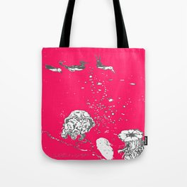 Two Tailed Duck and Jellyfish Bright Red Pink Tote Bag
