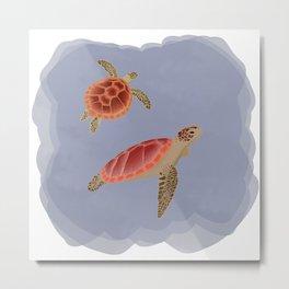 Turtles underwater Metal Print
