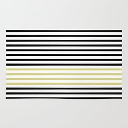 Black and White and Gold Stripes (Striped Pattern) Rug