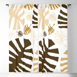 Monstera leaves in brown shades Blackout Curtain