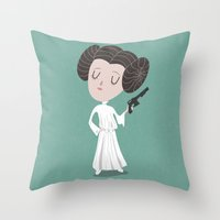 leia Throw Pillows featuring Leia  by Rod Perich