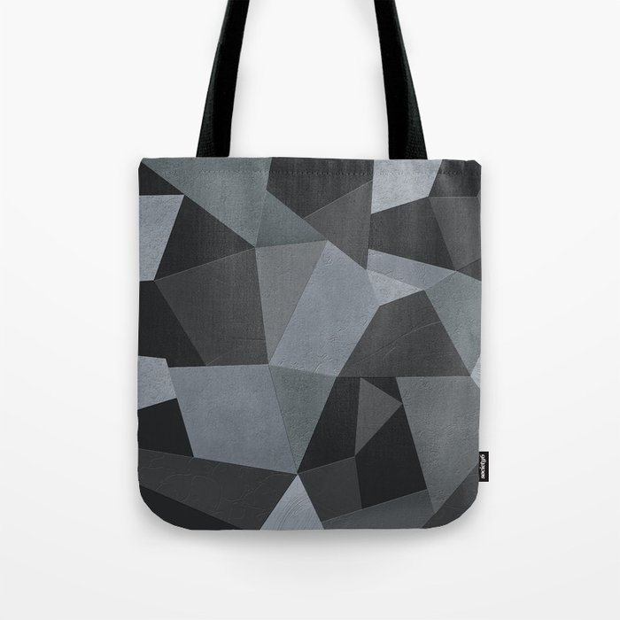 Black and grey worn . Leather patches . Tote Bag
