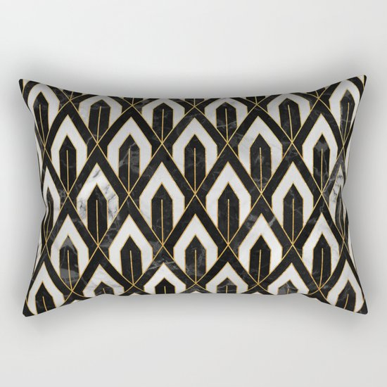Art Deco Marble Pattern Rectangular Pillow