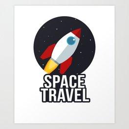 Space Travel Rocket Retro Art Design Art Print