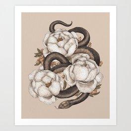 Snake and Peonies Art Print