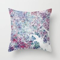 baltimore Throw Pillows featuring Baltimore by MapMapMaps.Watercolors