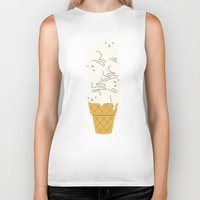 ice Biker Tanks featuring Cats Ice Cream by I Love Doodle