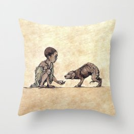 Boy and Puppy Throw Pillow